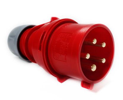 Billede af Stikprop CEE - Han - 400V/32A, m/ fasevender - Rød
