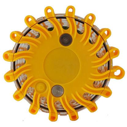 Billede af LED Blinklampe gul - 9 lysprogrammer, udskiftbart batteri
