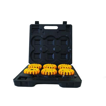 Billede af LED Blink-lampesæt i kuffert med opladefunktion, 6 stk. gul - 9 lysprogrammer