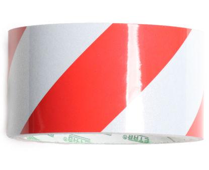 Billede af Reflekstape rød/hvid 50 mm x 5 mtr.