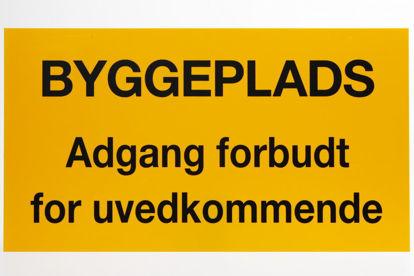 """Billede af Skilt 320 x 500 mm PVC """"Byggeplads: Adgang forbudt for uvedkommende"""""""