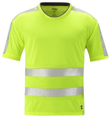 Billede af Snickers AllroundWork T-shirt 2530 - Gul High-Vis klasse 2, str. 2XL